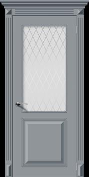 Межкомнатная дверь Эмаль БЛЮЗ со стеклом серая - фото 11704