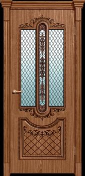 Межкомнатная дверь шпонированная МУАР со стеклом размер до 2400 - фото 12353