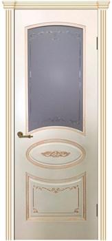 Влагостойкая Межкомнатная дверь Эмаль с патиной ВУАЛЬ со стеклом - фото 13727