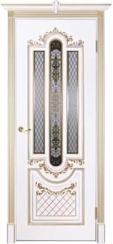 Влагостойкая Межкомнатная дверь Эмаль с патиной МУАР со стеклом - фото 13742