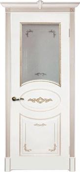 Влагостойкая Межкомнатная дверь Эмаль с патиной КАМЕЛИЯ со стеклом - фото 13748