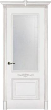 Влагостойкая Межкомнатная дверь Эмаль с патиной ПАУЛА со стеклом - фото 13756