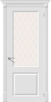 Влагостойкая Межкомнатная дверь Эмаль Скинни-13  Whitey/White Сrystal - фото 13834