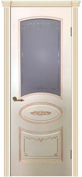 Межкомнатная дверь Эмаль с патиной ВУАЛЬ со стеклом - фото 5041