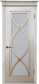 Межкомнатная дверь Эмаль Flamenko с патиной со стеклом - фото 5077