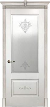 Межкомнатная дверь Эмаль с патиной ФЛОРАНС со стеклом - фото 5086
