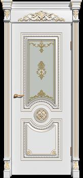 Межкомнатная дверь Эмаль с патиной ОЛИМП со стеклом - фото 5135
