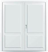 Пластиковая дверь без остекления с перегородкой двустворчатая распашная