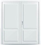 Пластиковая дверь без остекления с перегородкой двустворчатая распашная в наличии