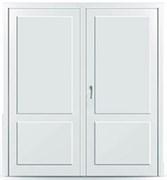 Пластиковая дверь без остекления с перегородкой двустворчатая распашная склад