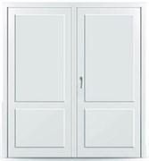 Пластиковая дверь без остекления с перегородкой двустворчатая распашная в наличии склад