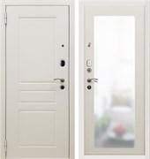 Входная металлическая дверь в квартиру SD Prof-10 Троя белая большое зеркало в наличии