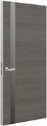 Дверь Tokyo L, дуб серый с алюминиевой кромкой