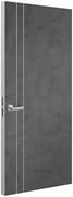 Дверь Tokyo М2, лофт темный с алюминиевой кромкой