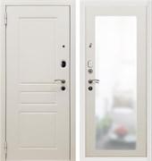 Входная металлическая дверь в квартиру SD Prof-10 Троя белая большое зеркало